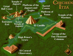 Carte du site de Chichen Itza