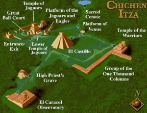 Carte du site de Chichen Itza