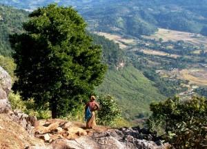 Une népalaise face à la vallée