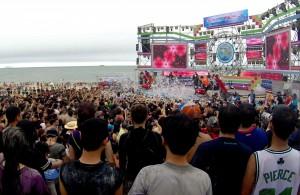 Scene musicale sur la plage