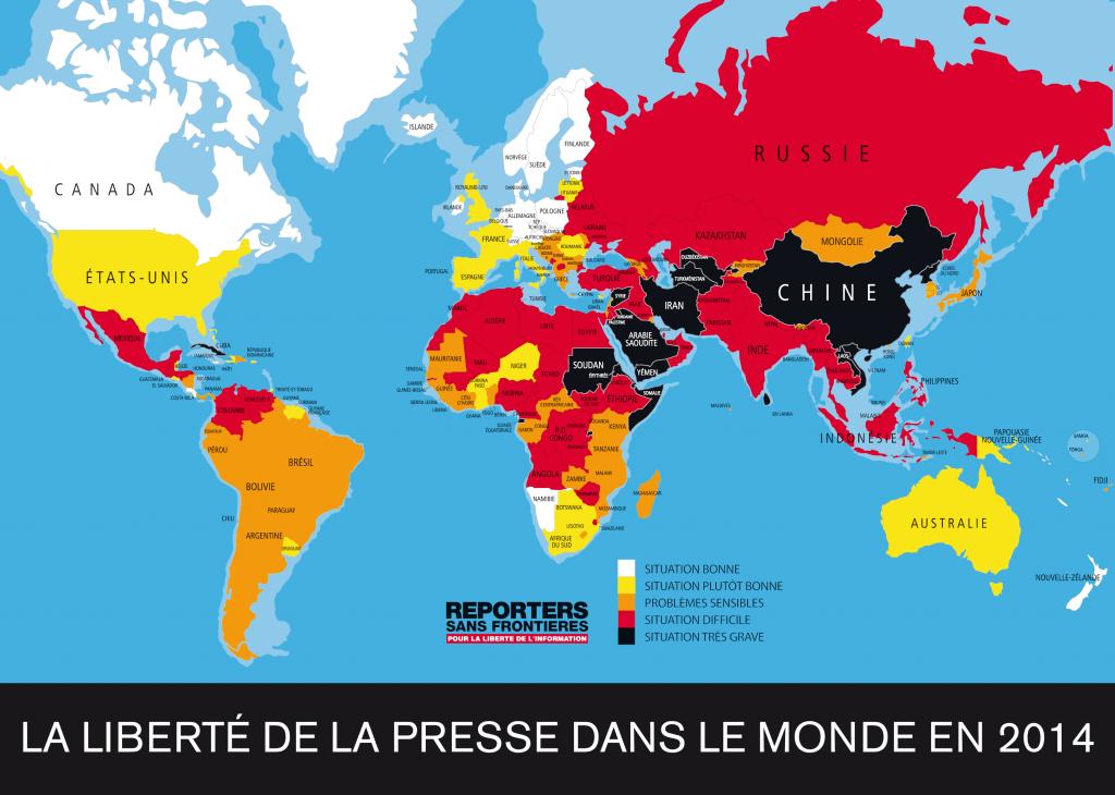 Carte de la liberté de la presse dans le monde en 2014